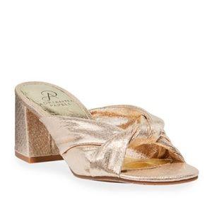 Anya Metallic Knot Block-Heel Sandals